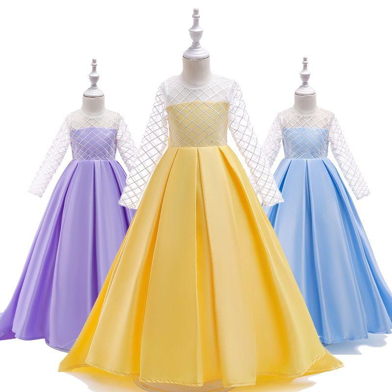 Girls Lace Satin Small Tail Long Sleeved Princess Dress Trailing Rhombic Long Dress Yellow Blue Purple Evening Dress Wedding Birthday Party