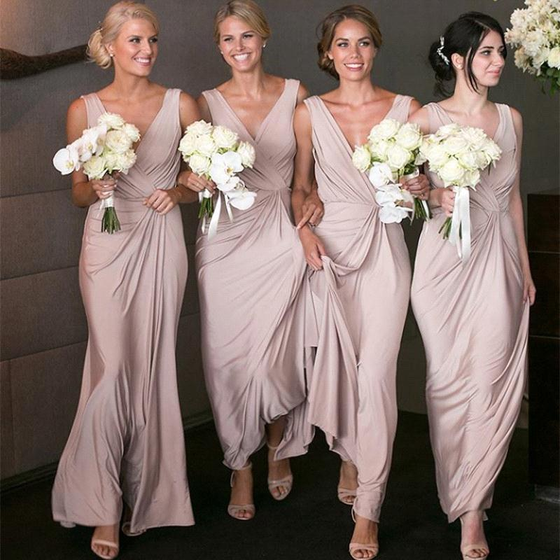 aliexpress new product various styles 2018 Simple Long Pink Bridesmaid Dress Formal Wedding Party Gowns New  Arrival Custom Made Bridesmaids Dresses Dusty Pink Bridesmaid Dresses Dusty  Rose ...
