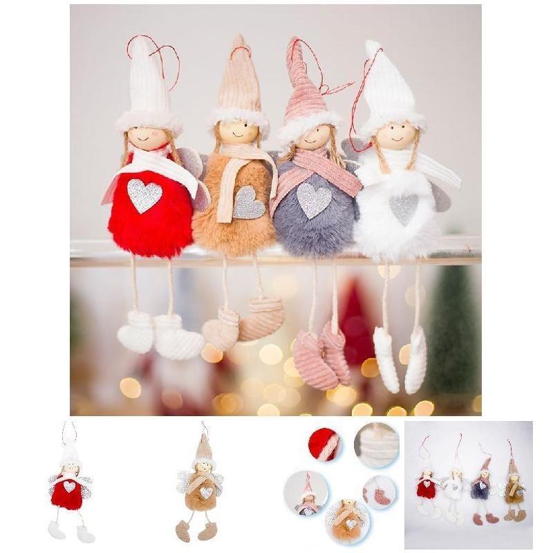 Venta al por mayor 1 UNIDS Cute Christmas Angel Plush Doll Christmas Tree Colgante Colgante Decoración Decoración para el hogar Envío Gratis