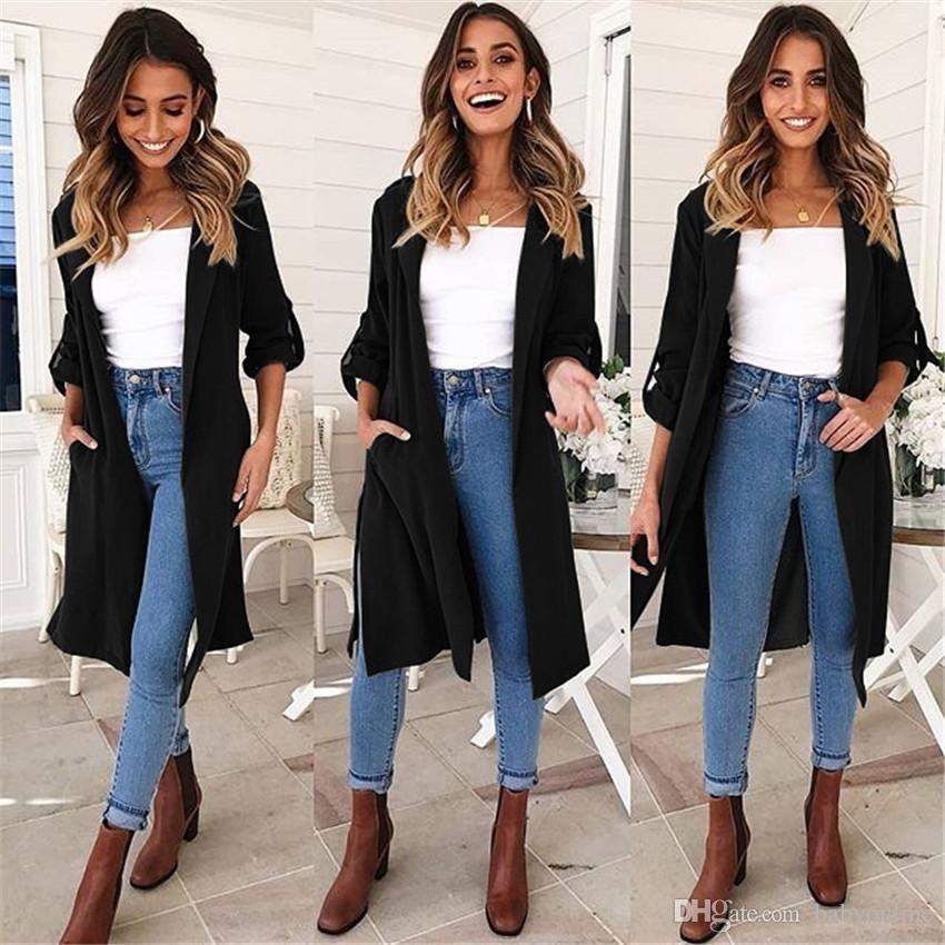 Compre 2019 Nueva Moda Casual Otono Invierno Mediados Trincheras Largas Abrigo De Mujer Chaquetas Combinaciones S Xlcm Fs5891 A 13 96 Del Beautydesign Dhgate Com