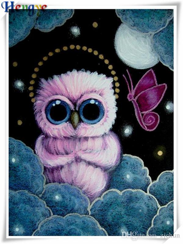 5D Diy diamond painting cross stitch kit rhinestone mosaic home decor gift animal cute pink owl full square&round diamond embroidery yx3188
