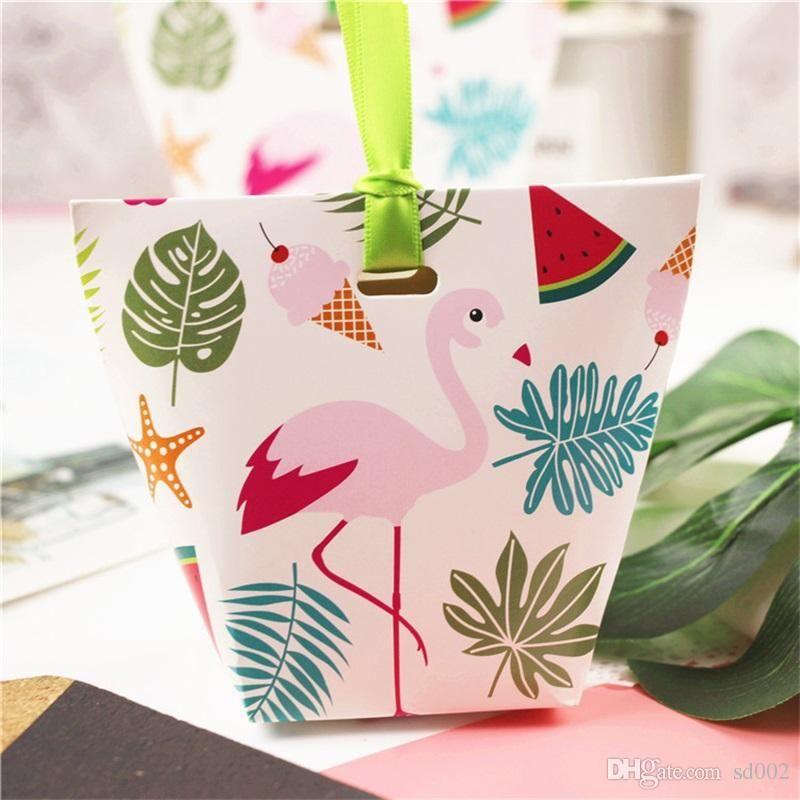 새 종이 선물 가방 웨딩 사탕 상자 유니콘 플라밍고 선인장 어린이 생일 축제 Praty 용품 만화 포장 0 5ch ii