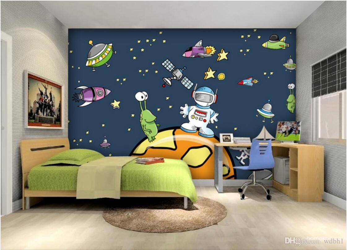 3d room wallpaper custom photo non-woven mural Cartoon cosmic starship large mural wallpaper for kids room murals wallpaper for walls 3 d