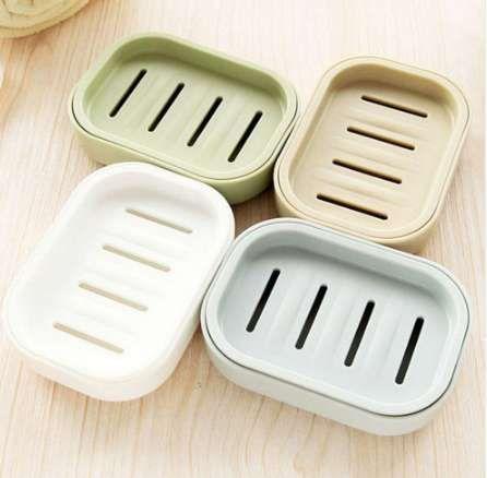 1pcs sapone in plastica piatto in plastica bagno creativo doppio portasapone drenante scatola di sapone antiscivolo