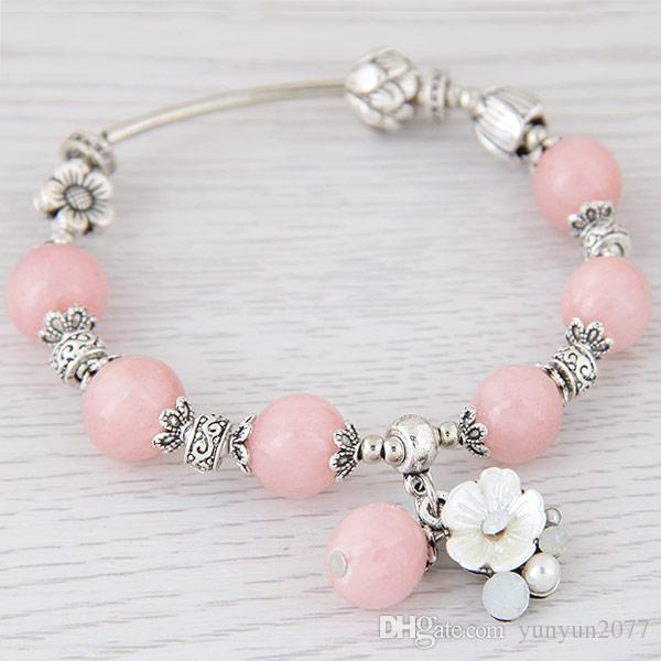 Bohemia Original Jewelry Accessories Vintage Retro Carved Crystal Beads Ball Shell Flower Wrist Elastic Chain Charm Wrap Bracelets For Women