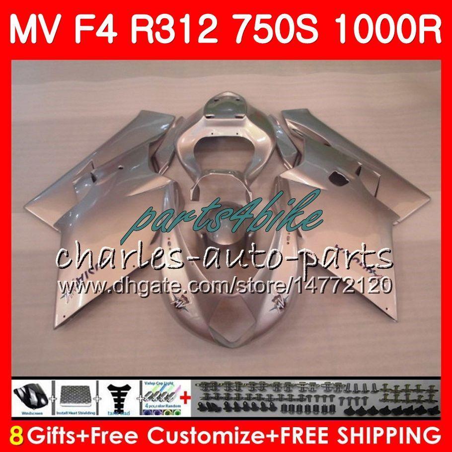 Ciało dla MV Agusta F4 R312 750S 1000 R 750 1000CC 05 06 102HM.33 750 S 1000R 312 Połysk Srebrzysta 1078 1 + 1 MA MV F4 2005 2006 05 06 Zestaw do błonnika
