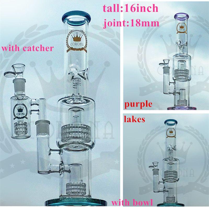 Recycler Corona S2 Matrix Perc a nido d'ape Showerhead Purple Bong con Ash Catcher Bangers Chiodi per il tubo di vetro di vetro di colore rosa Bong