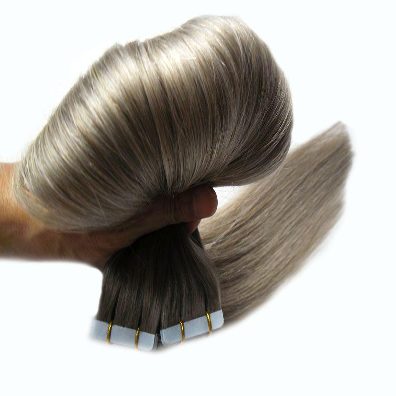Fita Remy 40 pcs Fita de Trama Da Pele Sem Costura Em Extensões de Cabelo Humano 100g Cinza Prata fita extensões de cabelo humano