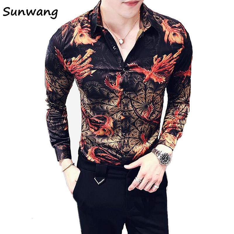2018 New Autumn  Mens Shirts Regular Fit Unique Designer Dress Flower Slim Fit Male Casual Long Sleeve Shirt Men Fashion