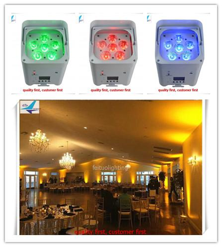 A-10 light with case 6x12w 6in1 wireless battery powered led uplights with WIFI controller 6/9 CH