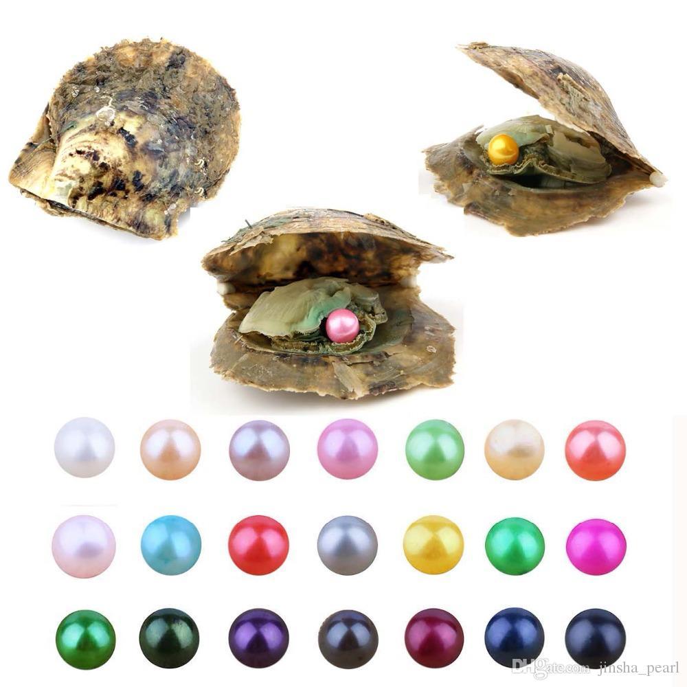 Atacado 2018 Akoya Mix 6-7 mm Cores água do mar da pérola redonda de ostra por DIY Fazendo presente colar de jóias Pulseira Anel