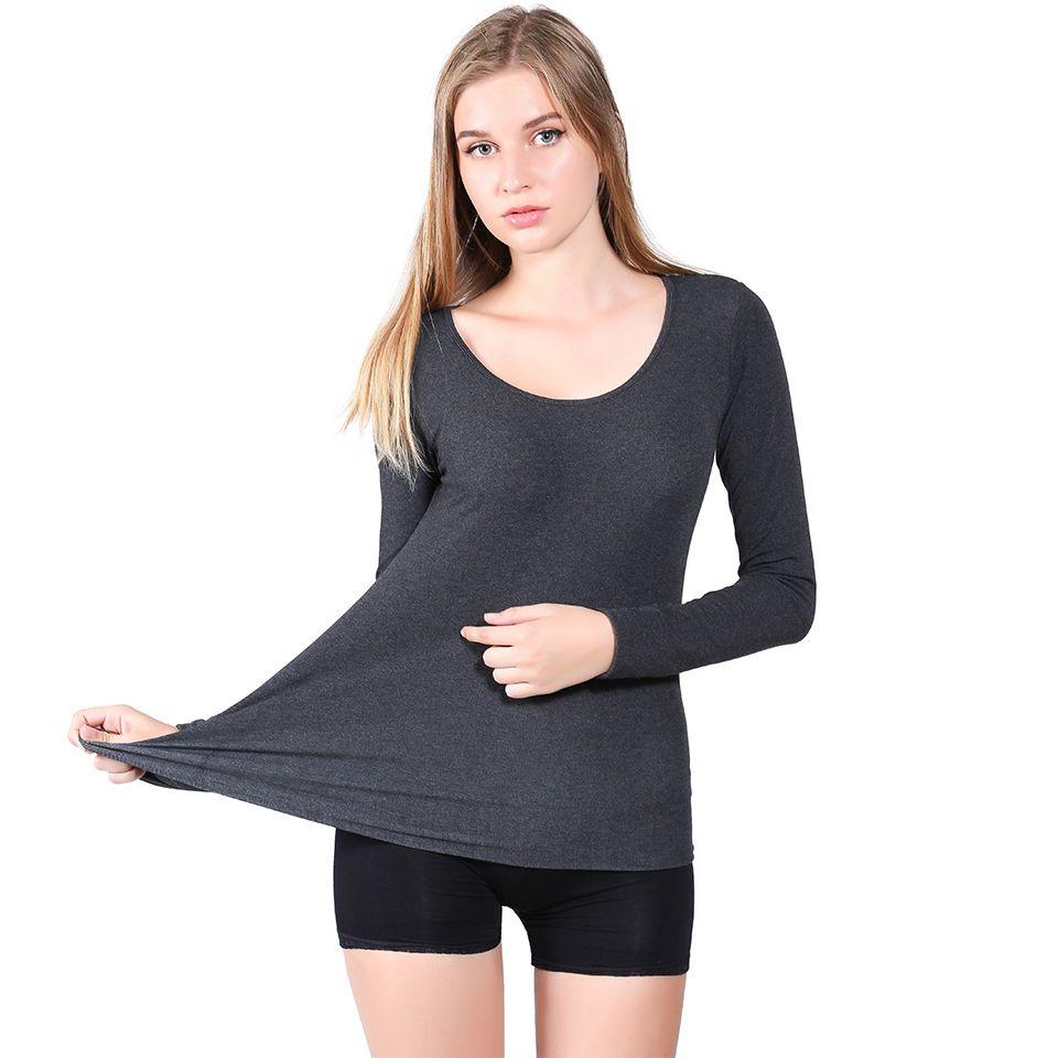 Ropa interior térmica de fibra de bambú de las nuevas mujeres Tops Chicas de invierno de alta calidad y camisas de los calzoncillos largos muy suaves Cima caliente
