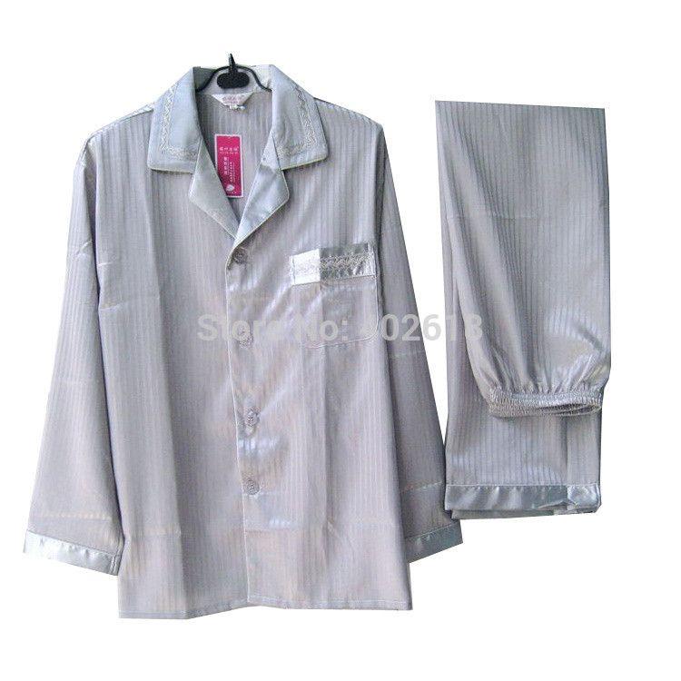 Sleepwear da uomo (1 set / lotto) Silk Homewear, uomini pigiami, tra cui (vestiti + pantaloni), taglia l, xl, xxl, manica lunga 2 colori in magazzino