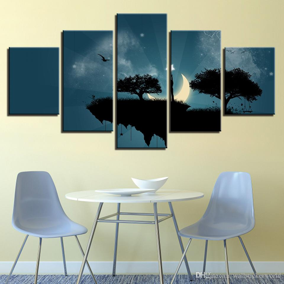 Modern Canvas Picture HD Printed Wall Art Frame 5 Pieces Cliff Trees Moonlight Night Living Room Home Decor Painting Poster