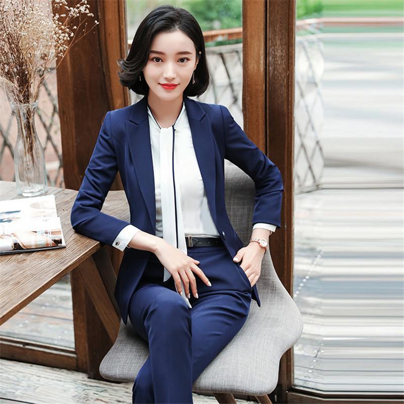 Profesyonel kadın pantolon pantolon ofis bayanlar Üniforma Tasarımlar ile saf renk iş biçimsel ince uzun kollu blazer uygun