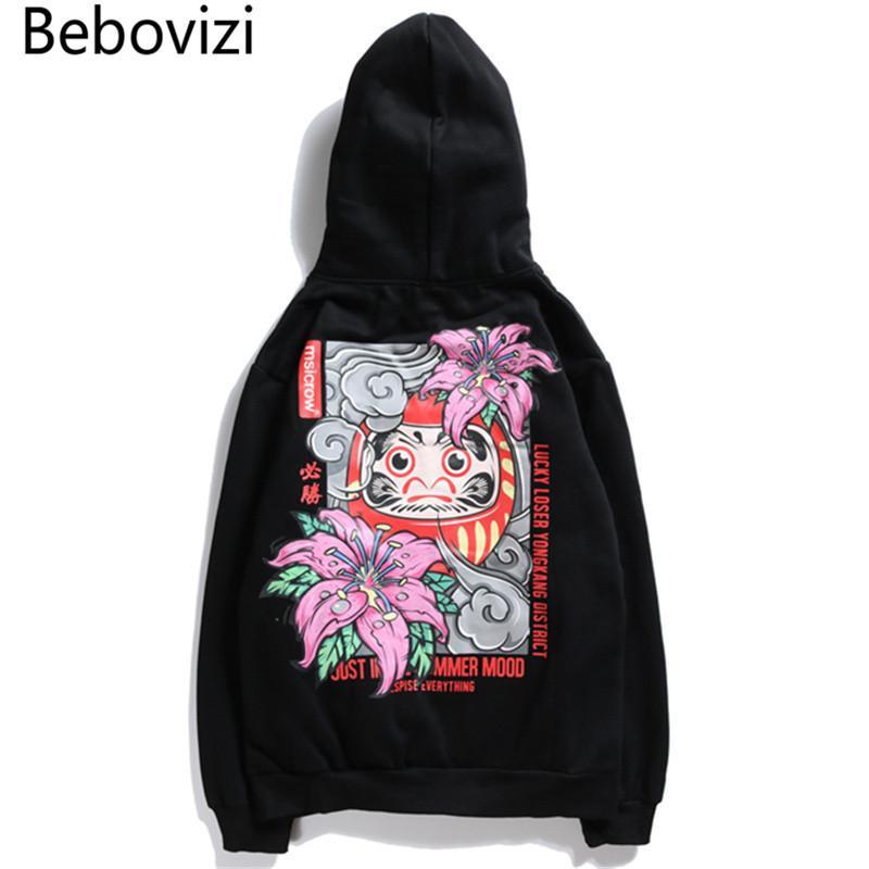 Bebovizi Marca New Arrival Estilo Japonês Flor Hoodies Streetwear Camisola Hip Hop Winnin Impresso Algodão Mulheres Homens Com Capuz