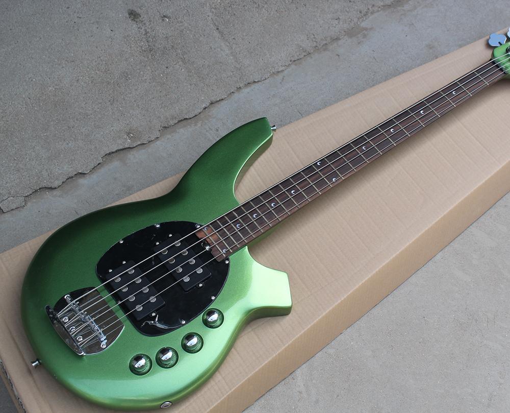 2018 Factory Custom 4-String Green Electric Bass Guitar,Black Pickguard,2 Pickups,Rosewood Fretsboard,Can be Customized