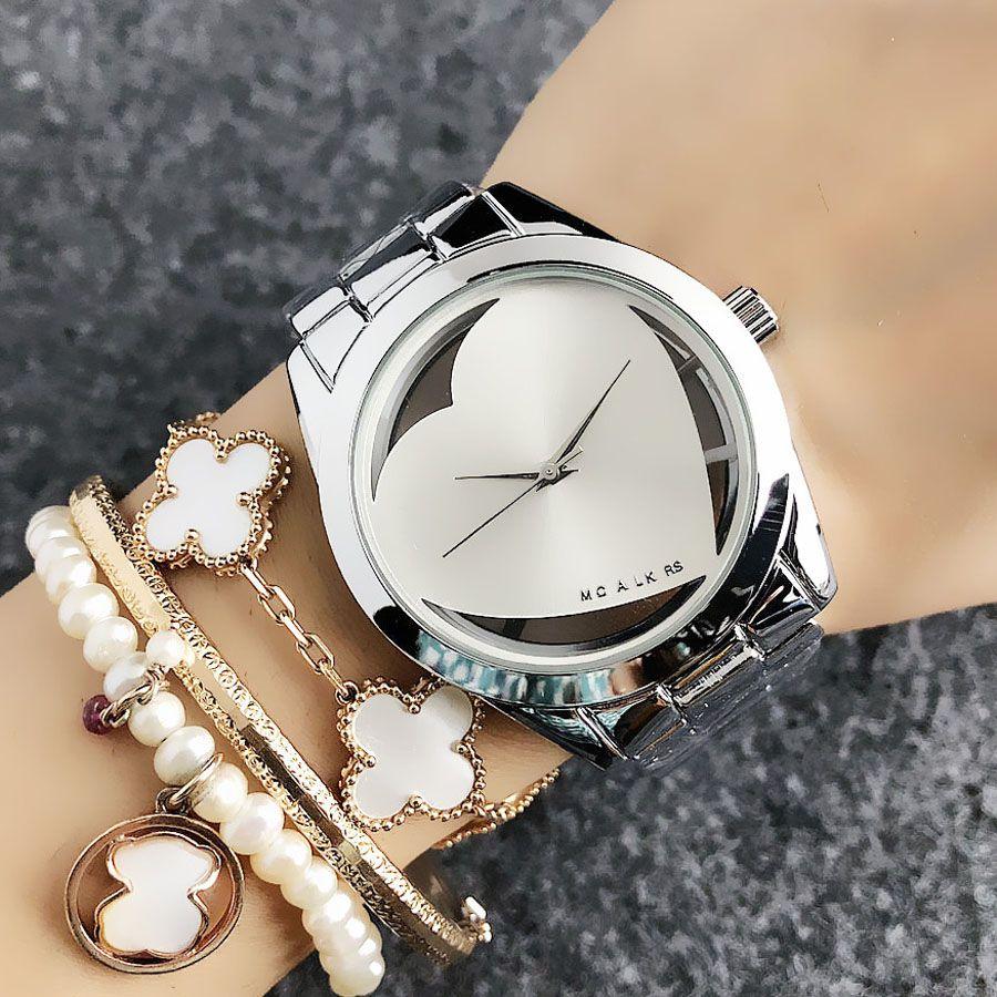 Мода M дизайн бренда женщин Девушка в форме сердца полый металлический стиль стальной ленты кварцевые наручные часы M60