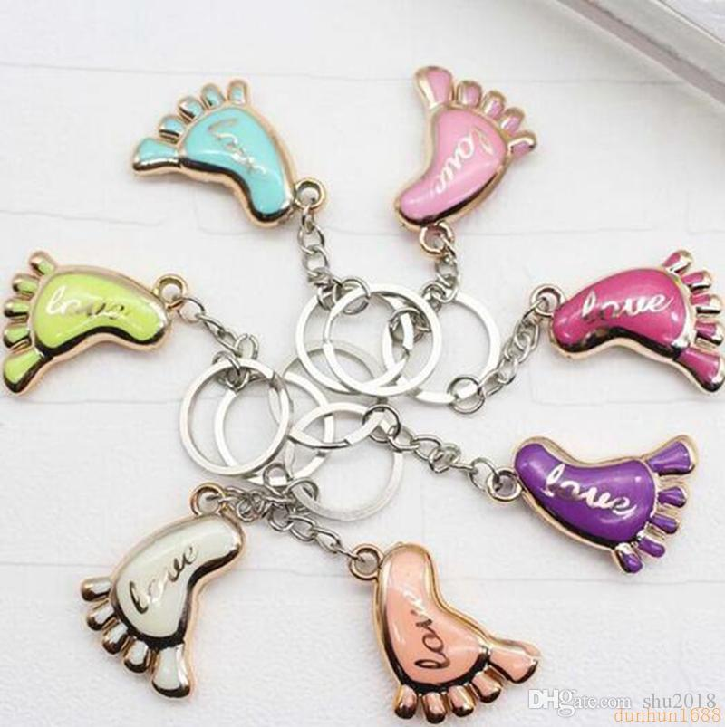 free shipping Cute Mini Foot Shaped Keychains Love Keyrings for Baby Shower Baptism Gifts Giveaway Souvenirs Free Shipping Z