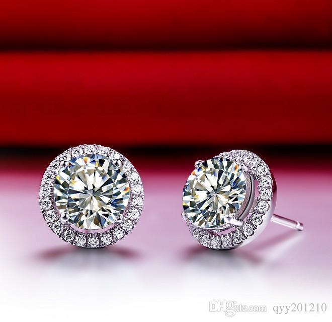 0.5CT/ Piece Stud Synthetic Diamonds Stud Earrings Women Sterling Silver Jewelry White Gold Color Engagement Jewelry Haol Stud