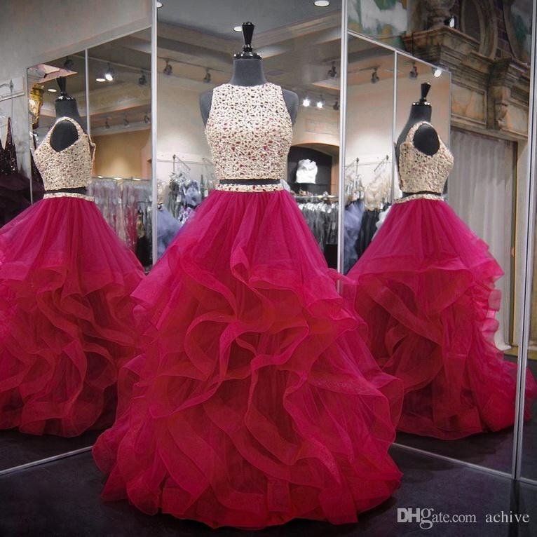 Vestido Menina Hot Pink Dois 2 Peças Quinceanera Vestidos De Baile De Cristal Frisado Tule Debutante Vestidos De 15 Anos Vestidos De Baile De Máscaras