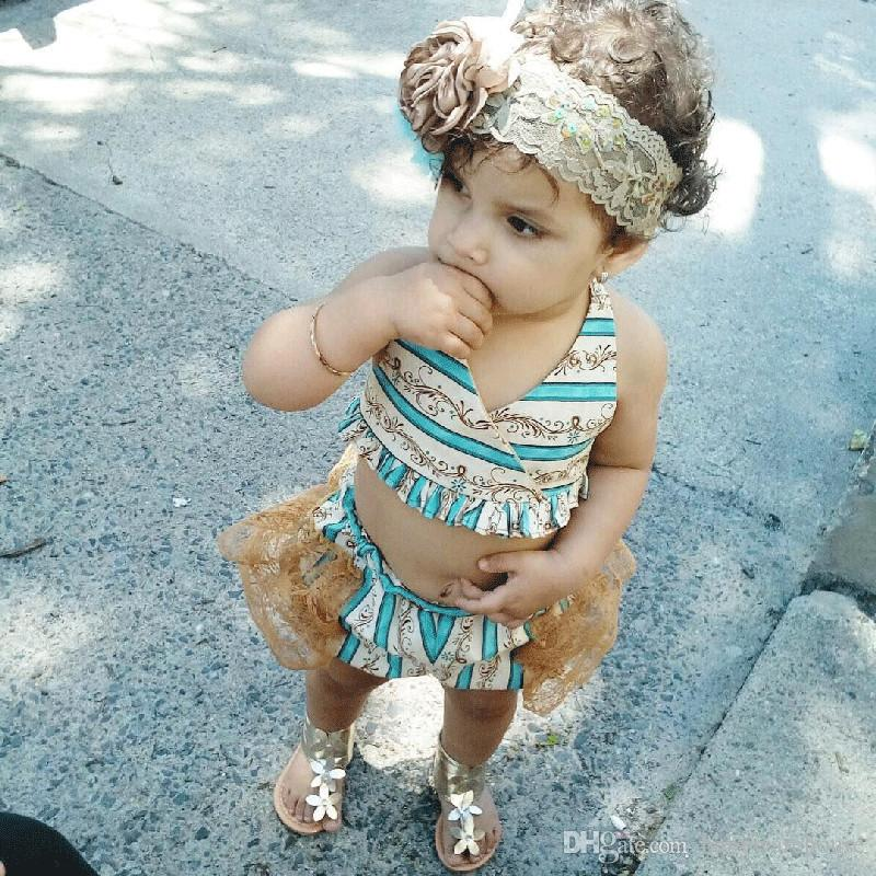 2018 جديد طفل رضيع الأطفال الملابس 3 قطع الاطفال طفلة بيكيني مجموعة ملابس السباحة الاستحمام بحر الرباط منزعج ملابس السباحة