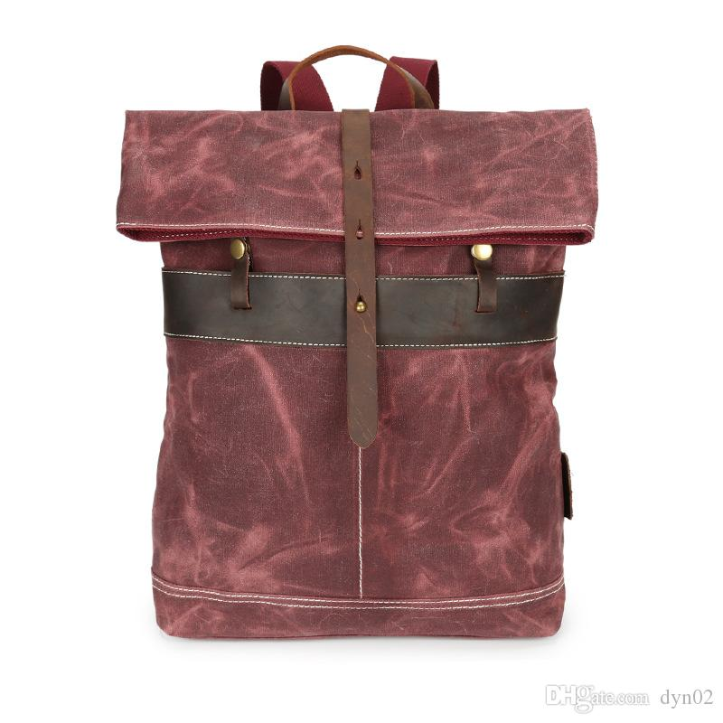 Männer ölwachs wasserdichte leinwand handtasche outdoor wear leder reiserucksack lässig computer tasche 5 farben