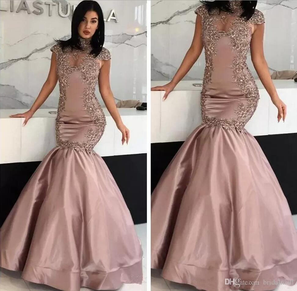Appliqued Dusty Pink Satin Mermaid Evening Dresses 2019 Sexy High Neck Formal Party Gowns Dubai African Prom Dresses Long Robe de soirée