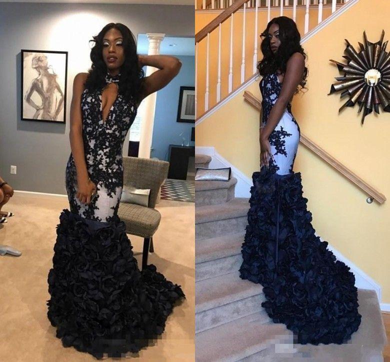 2018 Sexy Mermaid Prom Dresses Halter Decote com pequena abertura 3D Rose Flowers Appliques Open Back sul Africano Árabe vestidos de noite