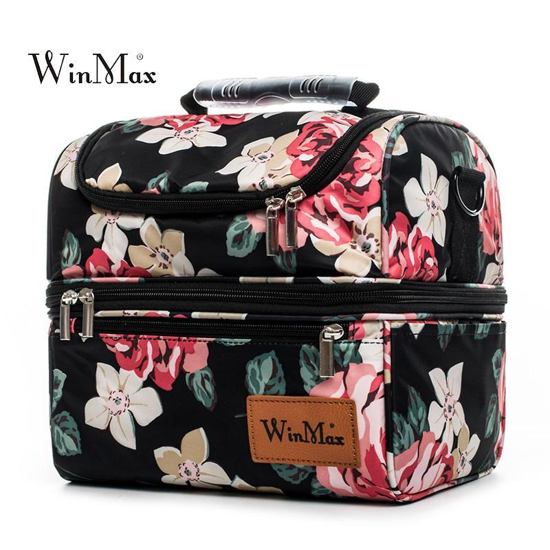Çift Katlı Öğle Yemeği Çantası Polyester Su Geçirmez Piknik Seyahat Depolama Termal Yalıtımlı Moda Lunchbox Öğle Çanta Wome Bolsa