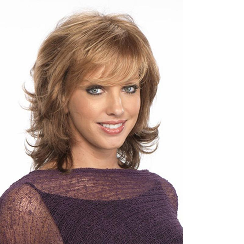 16 인치 여성 헤어 제품 패션 Wavy style 긴 가벼운 갈색 가발 앞머리 여성용 합성 가발 False hair