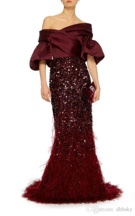 Evening dress Yousef aljasmi Kim kardashian Puffy sleeve Off-Shoulder Beaded Tassles Long dress Almoda gianninaazar ZuhLair murad 0054