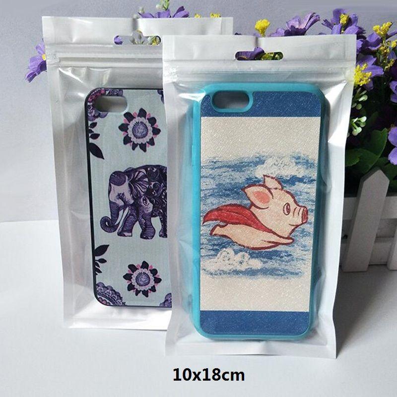 1000Pcs 10 * 18cm Blanc / Clair Emballage Sac en plastique détail Zipper Poly sac à glissière de stockage avec Accrocher trou pour téléphone Accessoires