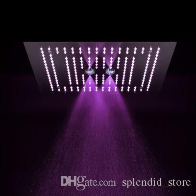 현대적인 16 인치 다기능 샤워 헤드 욕실 듀얼 비 안개 천장 마운트 LED 샤워 패널 / 304 SUS 광택 탑 샤워