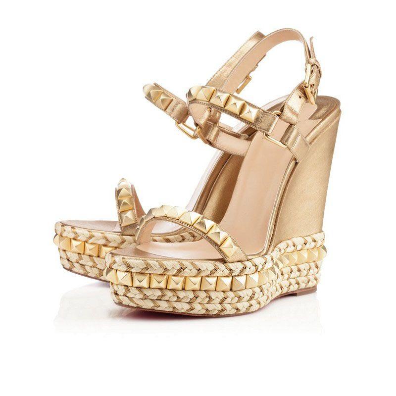 Новый летний дизайнер женщин сандалии на платформе клин красный нижний леди высокие каблуки женские клинья идеально открытый сексуальный Peep Toe женские туфли на высоком каблуке партии