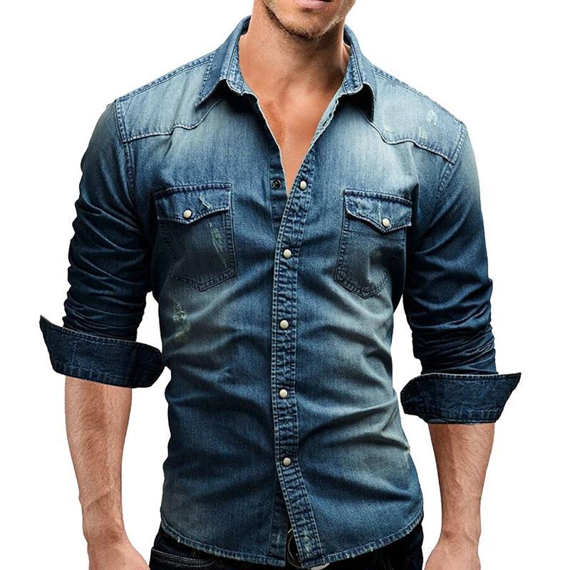 Laamei Denim Camisa Dos Homens de Bolso Mangas Compridas Slim Fit Camisas de Vestido de Algodão Camisa Ocasional dos homens Outono Streetwear camisa masculina