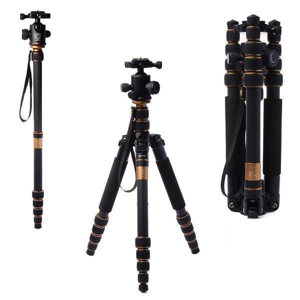Trípode profesional de la fibra de carbono Q666C para la cámara de SLR / el trípode que viaja portátil + la cabeza / el monópodo cambiable / el cargar máximo 15Kg