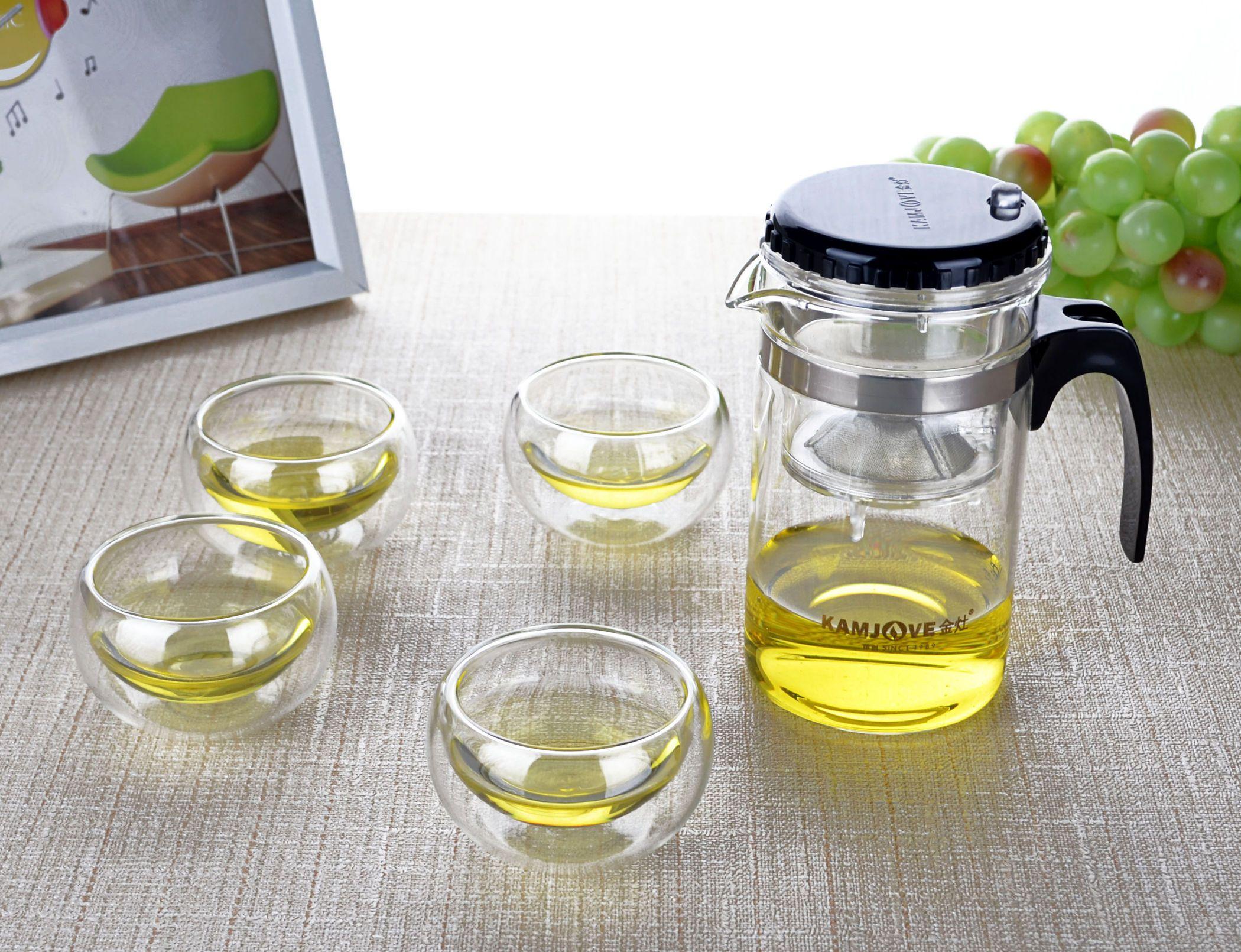 2x 30ml Double Wall Cups 3in1 Mini Tea Set 260ml Heat Resistant Glass Teapot