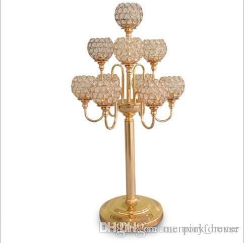 элегантный новый 10 руки канделябры свадьба центральным/золото канделябры с хрустальным шаром канделябры для свадьбы украшения стола центральные