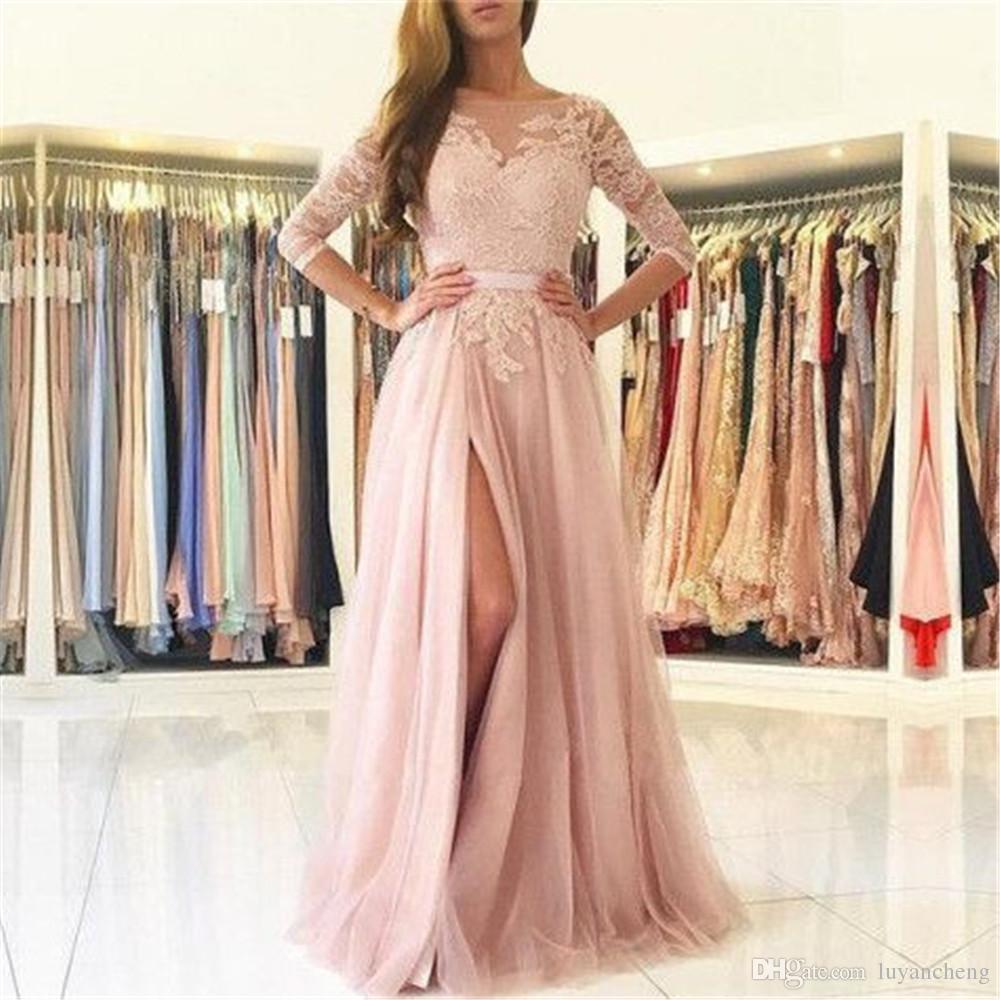 Blush Rose Dentelle Tulle Robe De Soirée Demi Manches Haute Split Une Ligne Longue Robe De Bal formelle 2019 Custom Made Robes De Soirée
