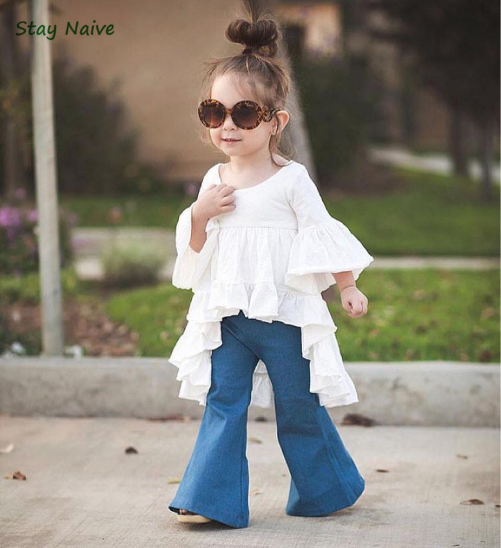 Stay Naive neue Mode Mädchen Kleidung Kinderbekleidung Märchen Stil Bambus Baumwolle Freizeitjacke + Jeans Anzug Y1891308