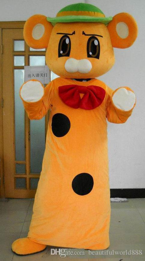 2018 High quality hot Good vision and good Ventilation an orange mouse mascot costume with a green hat for sale