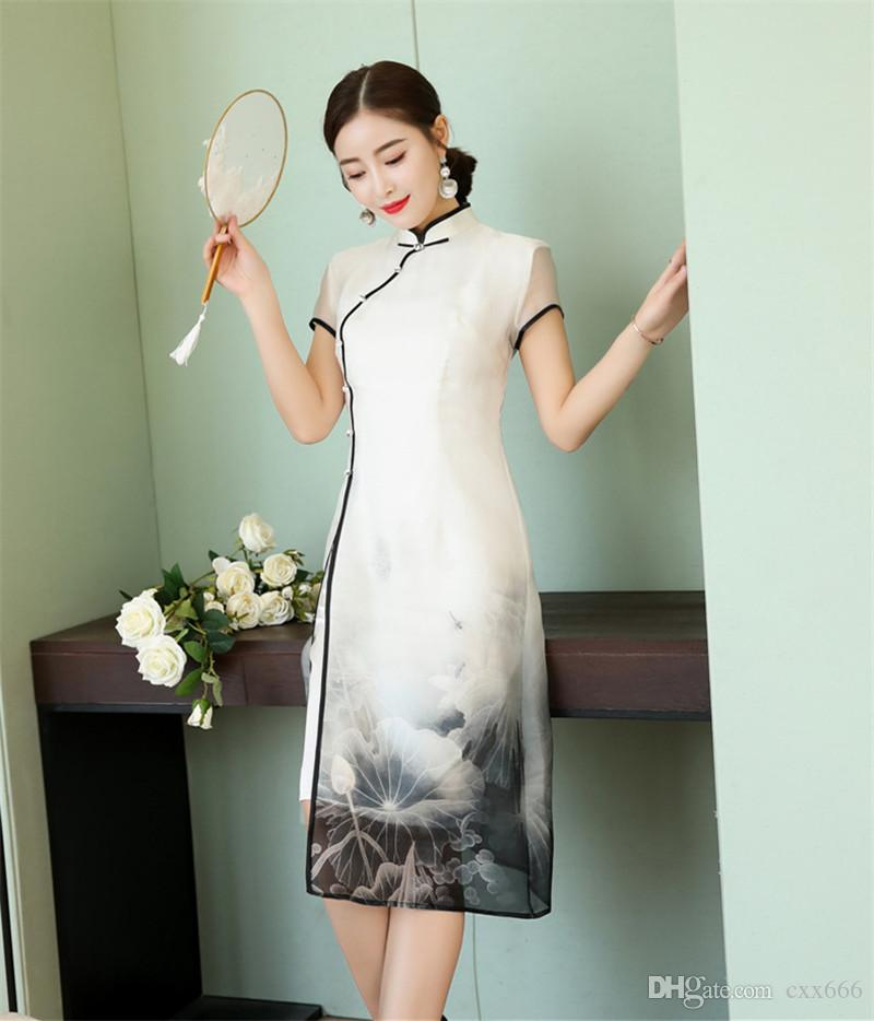 2018 summer women dress cheongsam qipao chinese traditional dress women's silk cheongsam qipao short sleeve long dresses