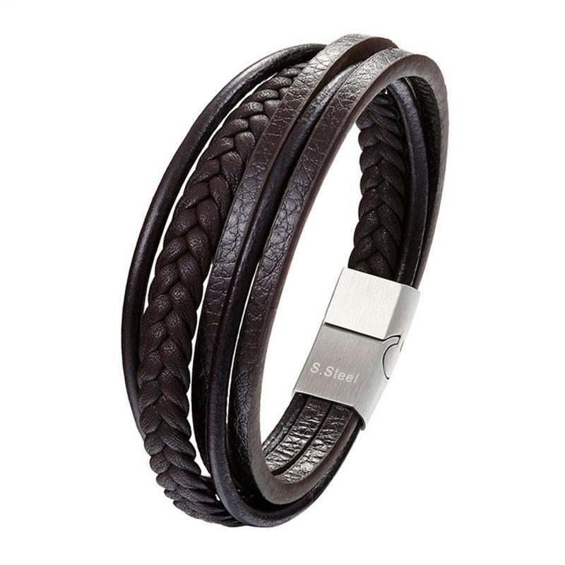Mode en cuir véritable Bracelet hommes en acier inoxydable Bracelets bricolage corde tressée chaîne Por Hommes Bijoux Cadeaux Vintage Pulseira