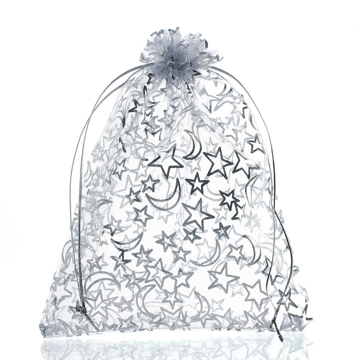 Mjartoria 200 adet Yıldız Ay Beyaz Organze Çanta Moda Takı Çanta Ve Ambalaj Düğün Noel Için İpli Hediye Çanta Torbalar çanta hediye