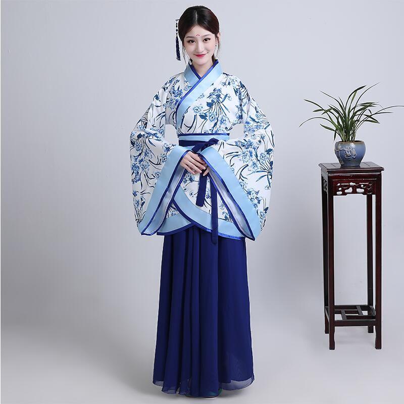 Chinois ancien costume traditionnel féminin costume classique élégant bleu et blanc en porcelaine style vestido hanfu femmes vêtements de scène ethniques
