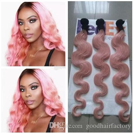 Hot Pink Virgin Human Hair Body Wave 3pcs T1B Pink Hair Bundles Malaysian Ombre Hair Weaving