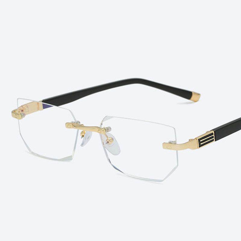 2020 Anti-blue light Reading Eyeglasses Presbyopic Spectacles Clear Glass Lens Unisex Rimless Glasses Frame of Glasses Strength +1.0 ~ +4.0
