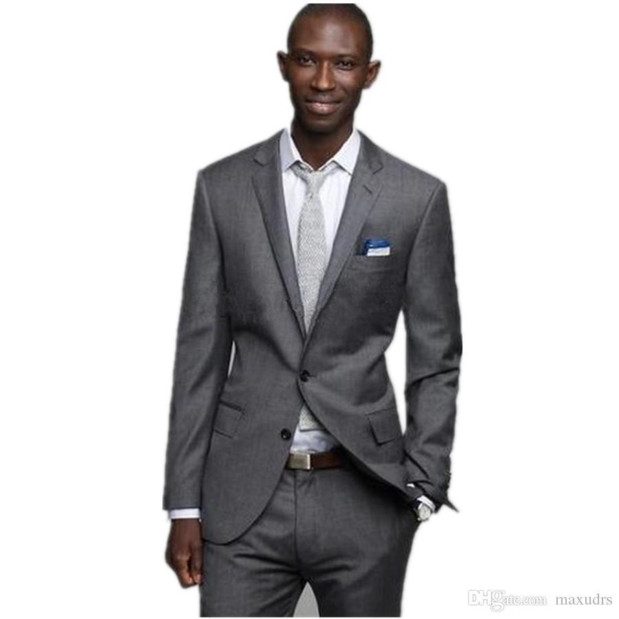 Yeni Varış Damat Smokin Terno Tek göğüslü Ince Damat Iş Takım Elbise 3 parça Sağdıç Takım Elbise Özel Made Man Suit (ceket + pantolon)