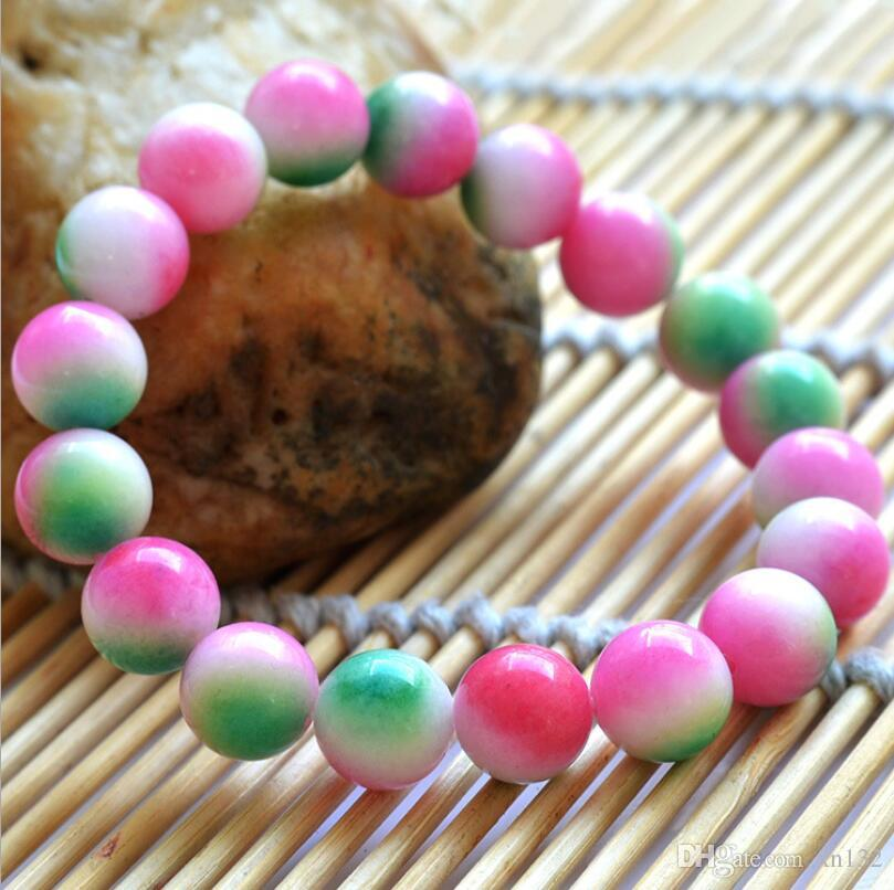 Colour Jade Bead Bracelet Chinese Natural Elastic Bangle Charm Jewelry Gifts